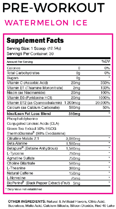 ideal lean pre workout label